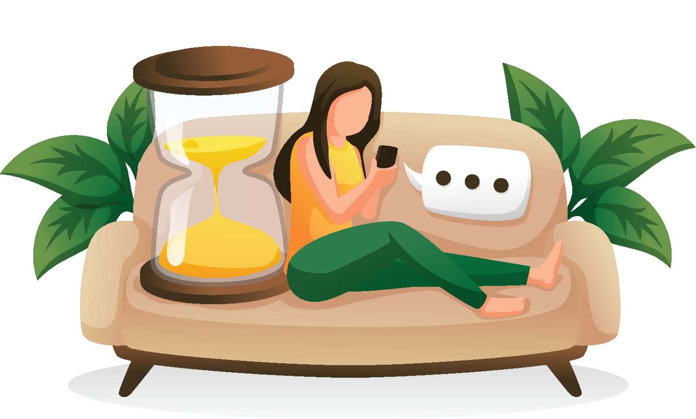 A person sitting on the couch, waiting for a text