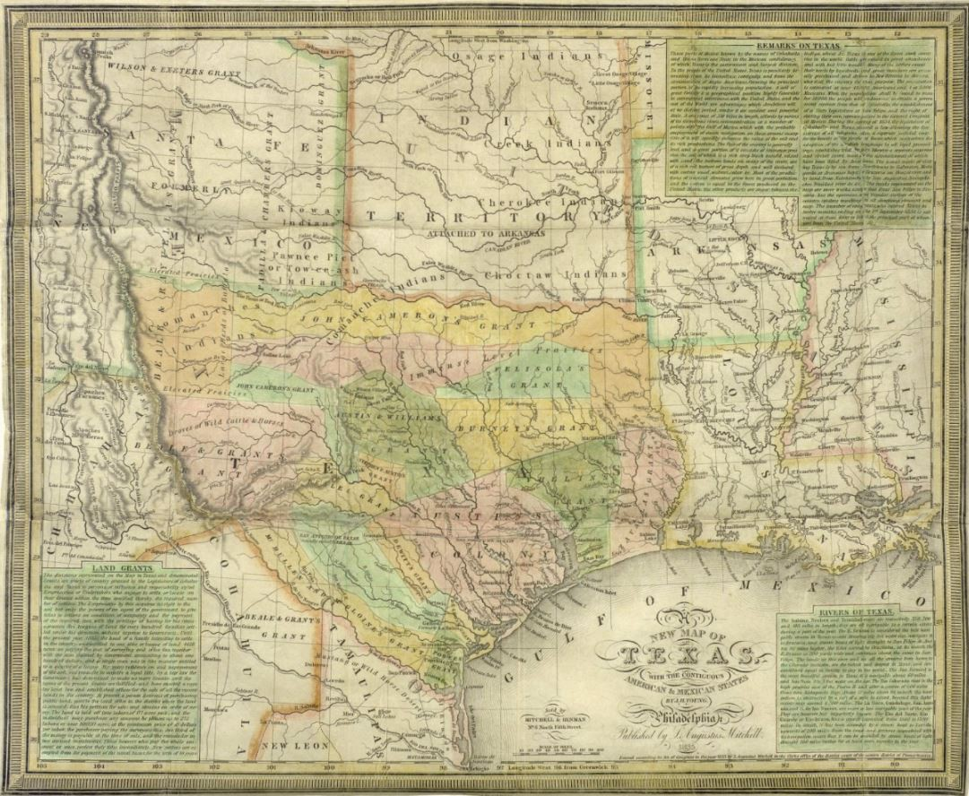 Map Of Texas Mexico.A New Map Of Texas With The Contiguous American Mexican States 1835