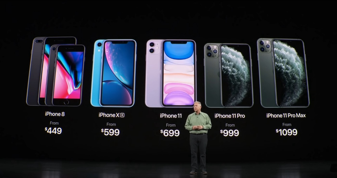 Presentation of iPhones at an official Apple event.