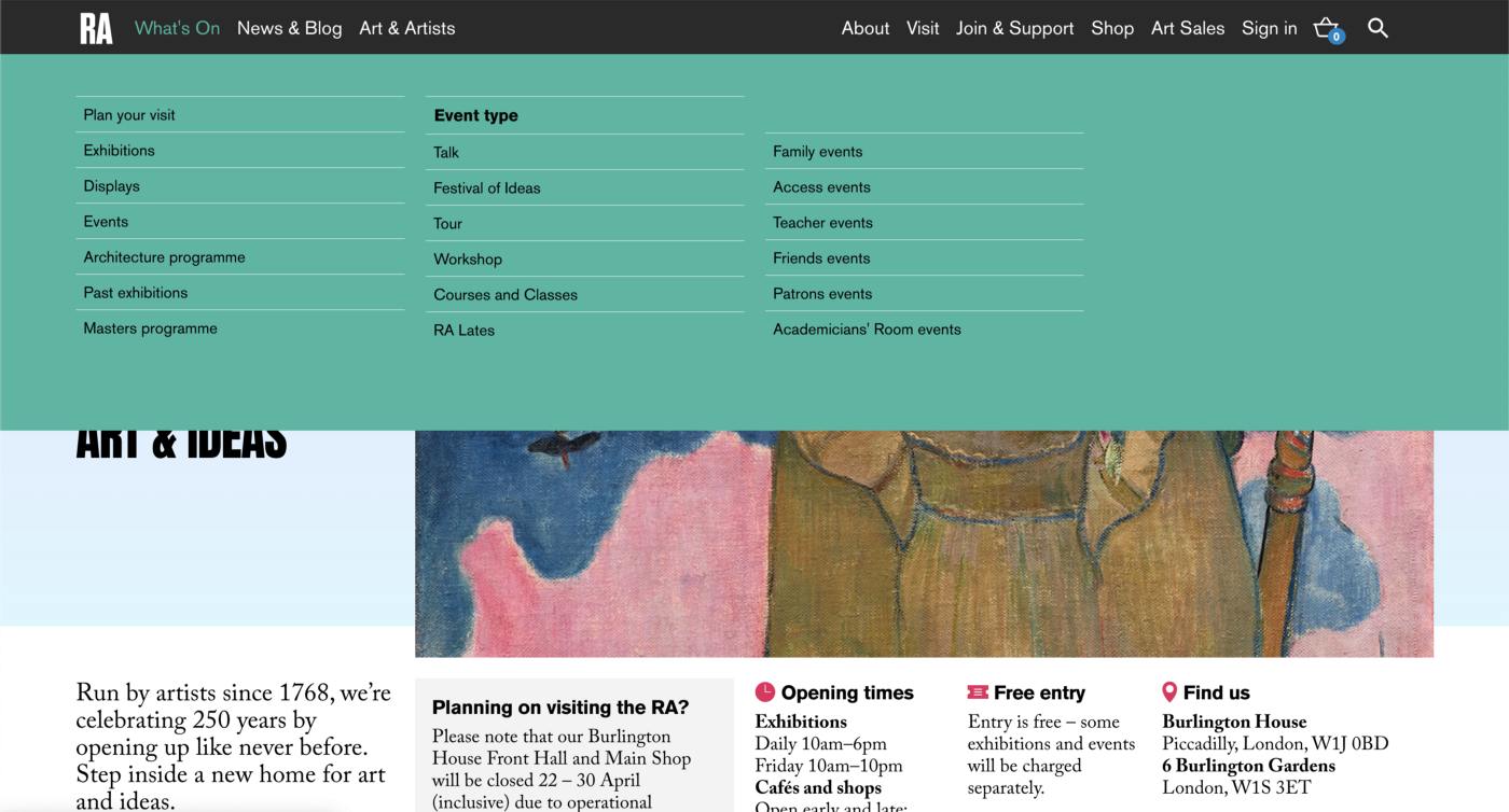 The Royal Academy of Arts homepage with drop-down mega menu open