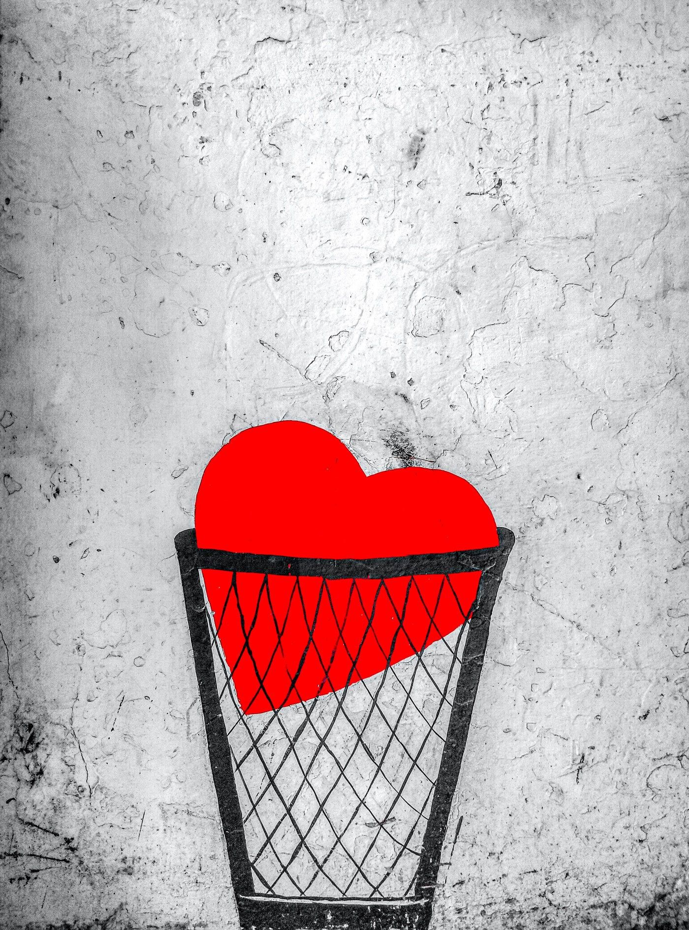 Illustration of a heart in a trash can