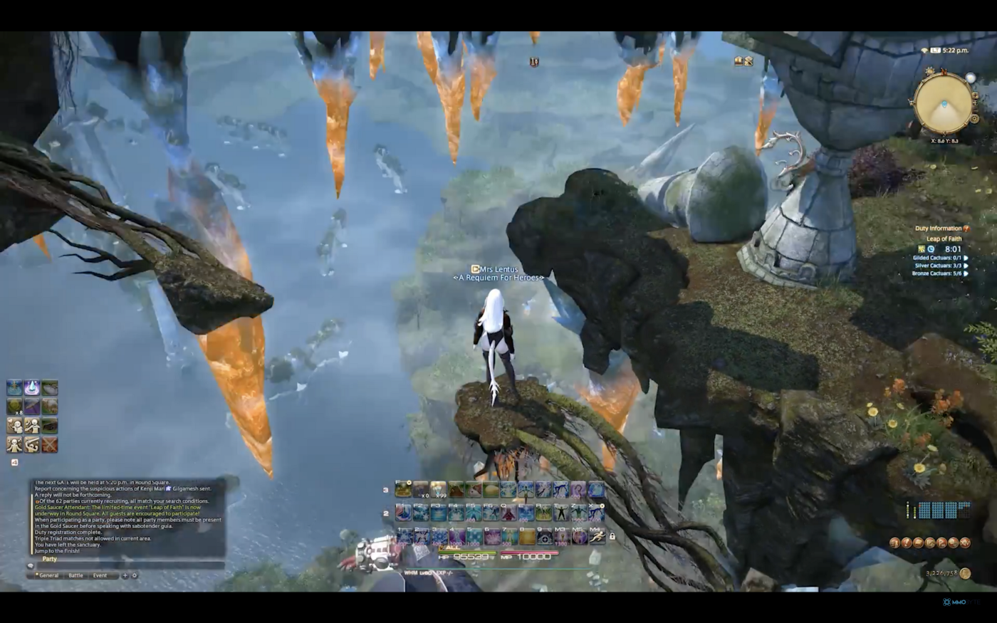 An image of Final Fantasy XIV and its many menus.
