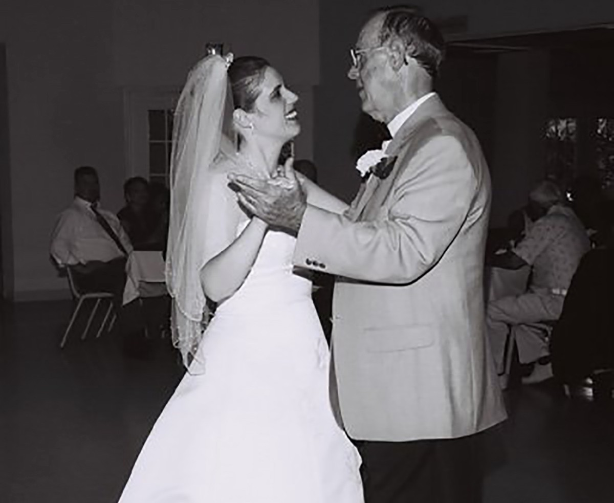 Father & daughter wedding dance. The author and her father on her wedding day.