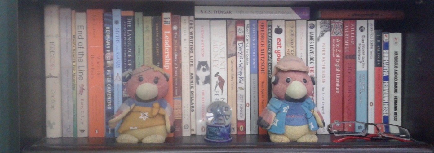 Shelf with books and a pair of cute Finches