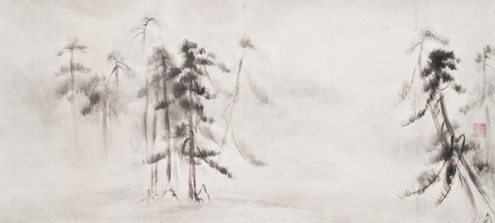Charcoal drawing of pine trees in the white mist.