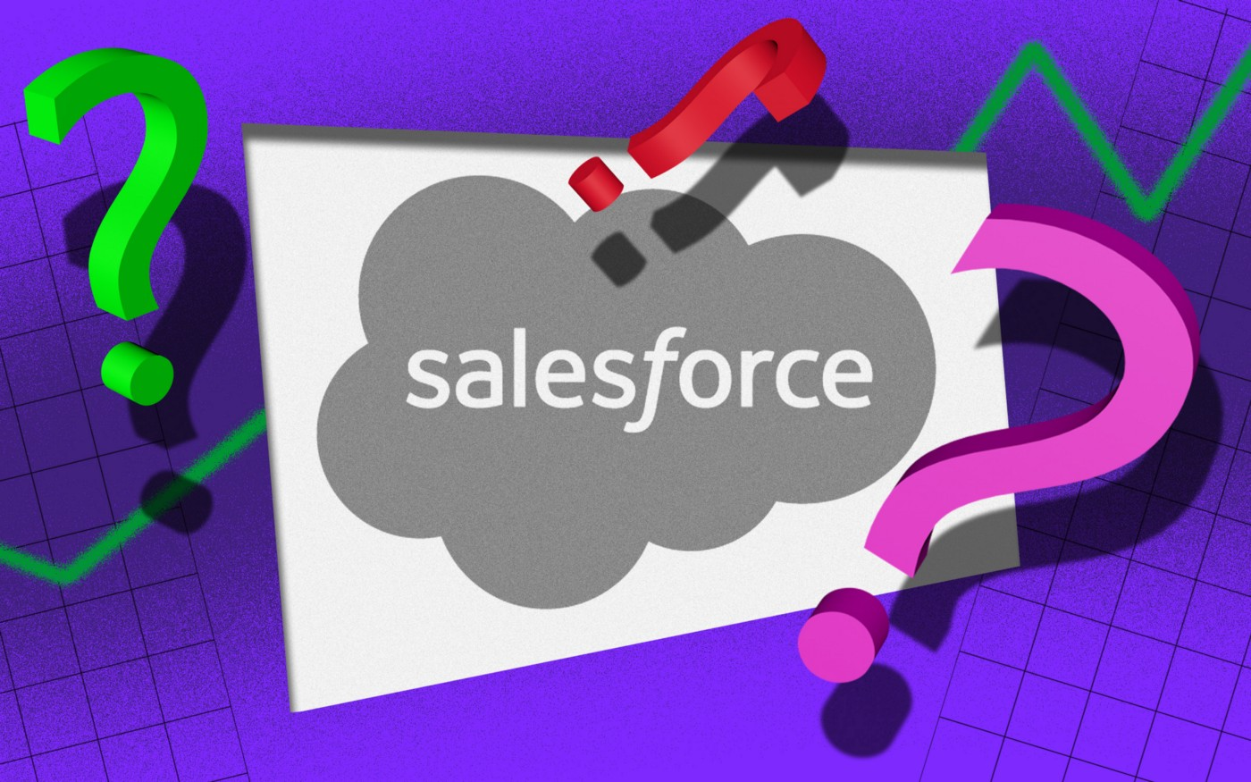 Salesforce logo with question marks surrounding it
