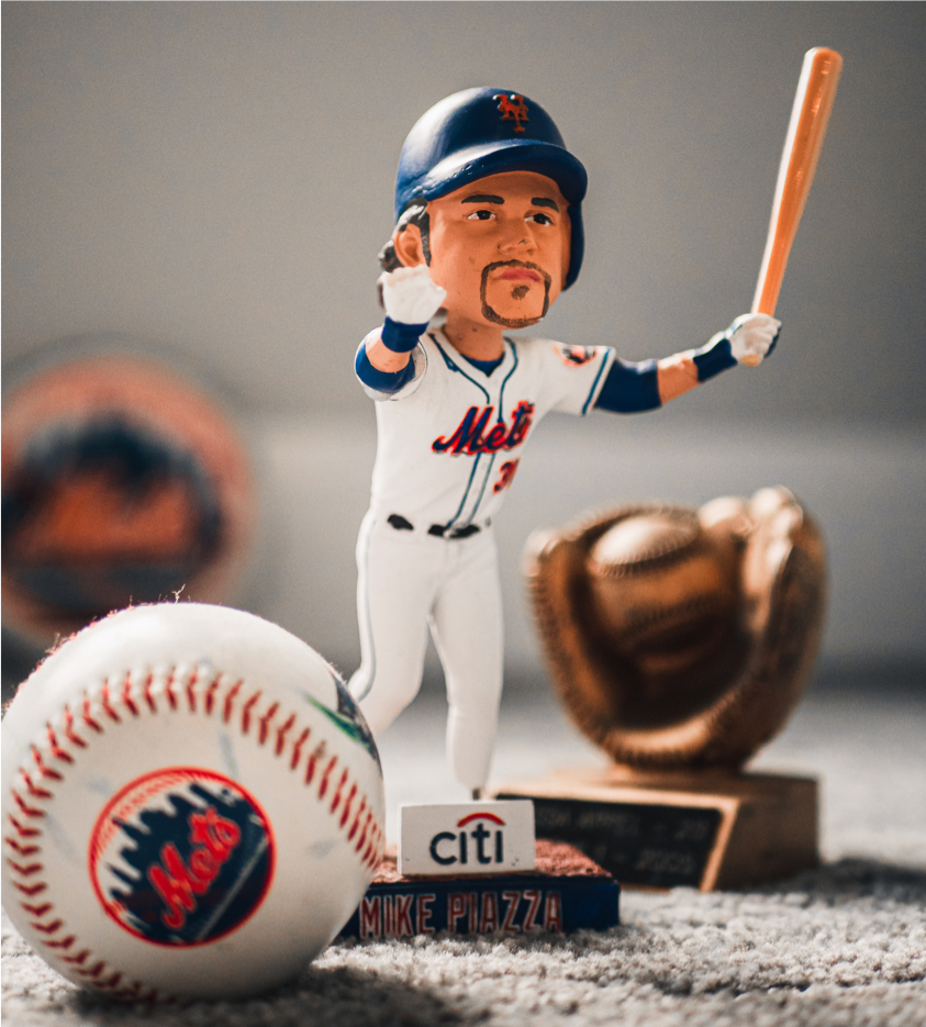 Photo of bobblehead of New York Mets' Mike Piazza (former teammate of Bobby Bonilla