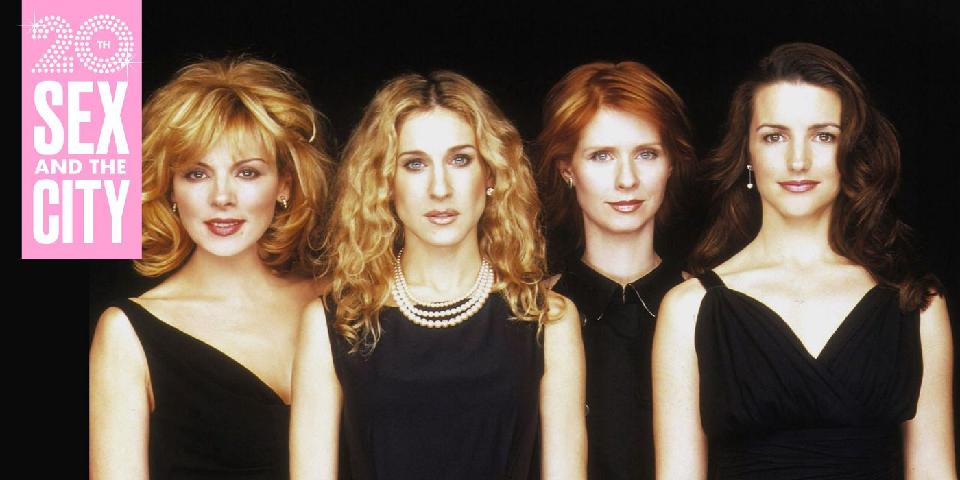 1998 publicity still of Sex and the City featuring Kim Cattrall, Sarah Jessica Parker, Cynthia Nixon, and Kristin Davis