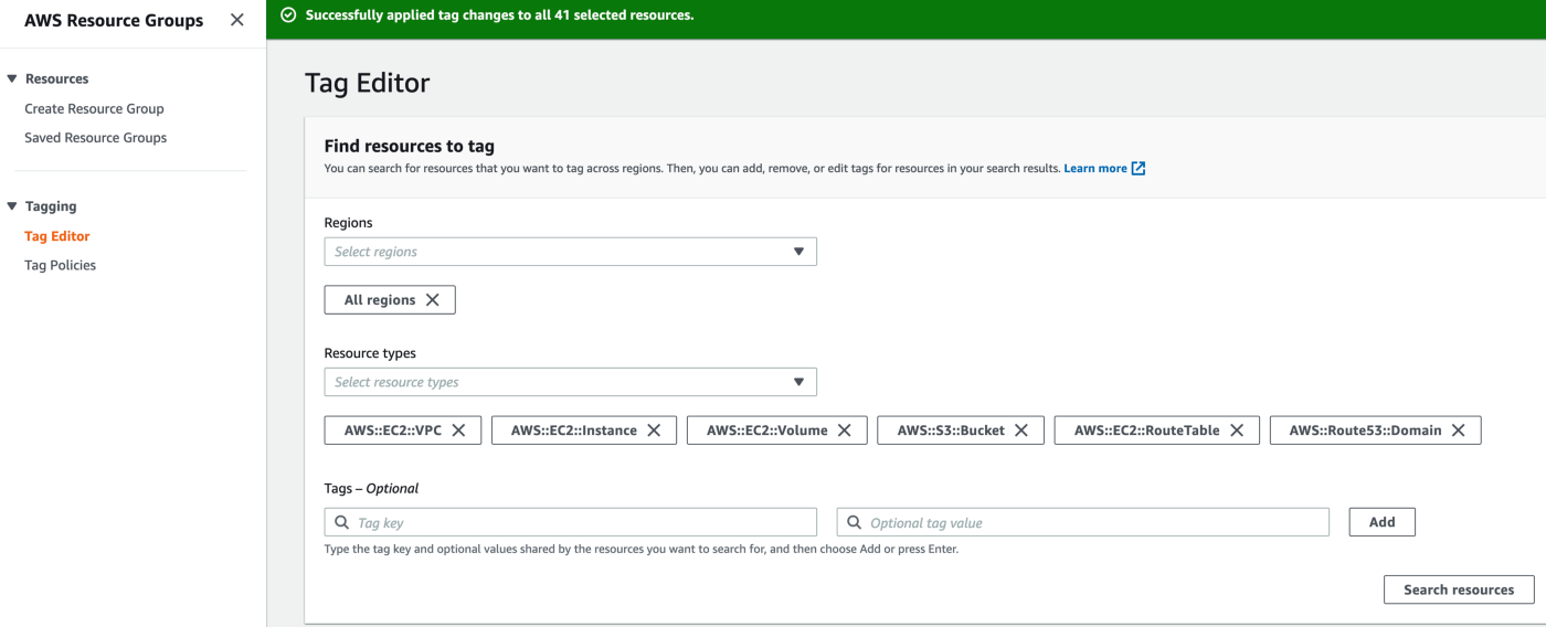 AWS Amazon Web Services Console—Tag Editor—Find all Resources in your account.