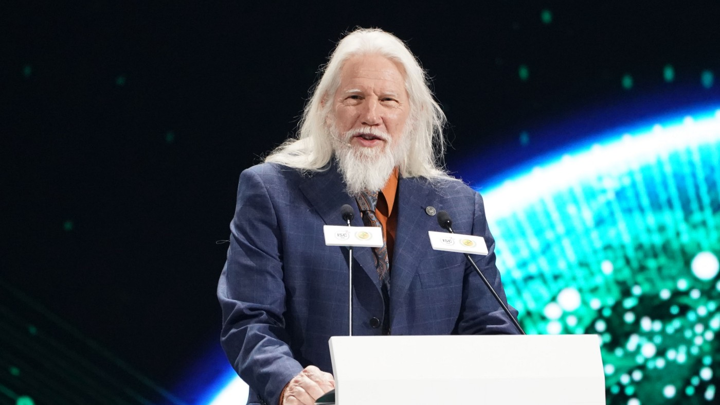Whitfield Diffie, winner of the 2015 Turing Prize, speaks during the 7th Internet Security Conference (ISC).