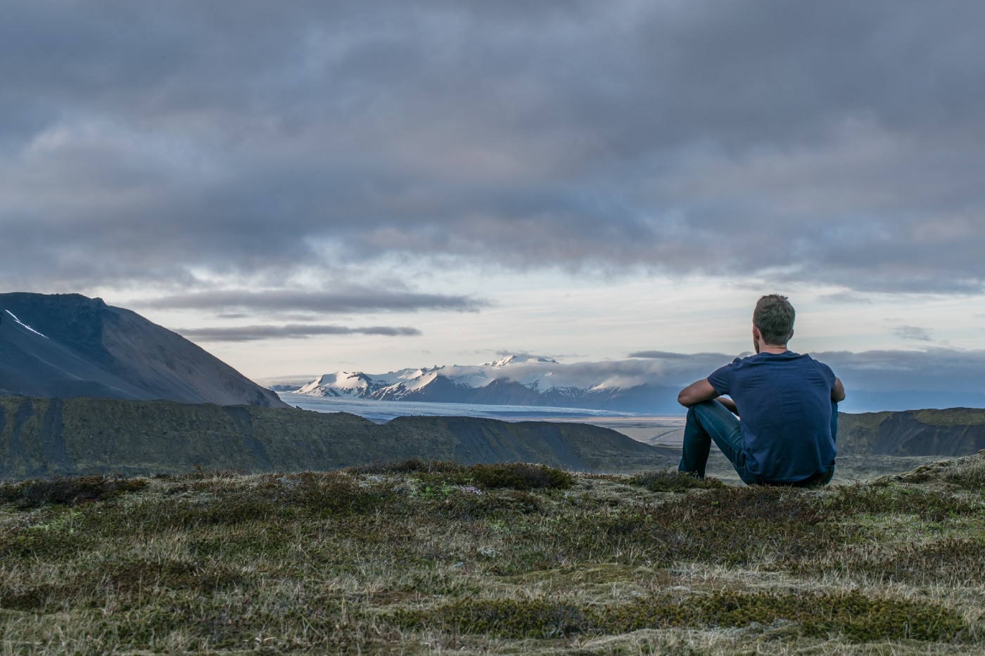Man thinking in solitude in nature