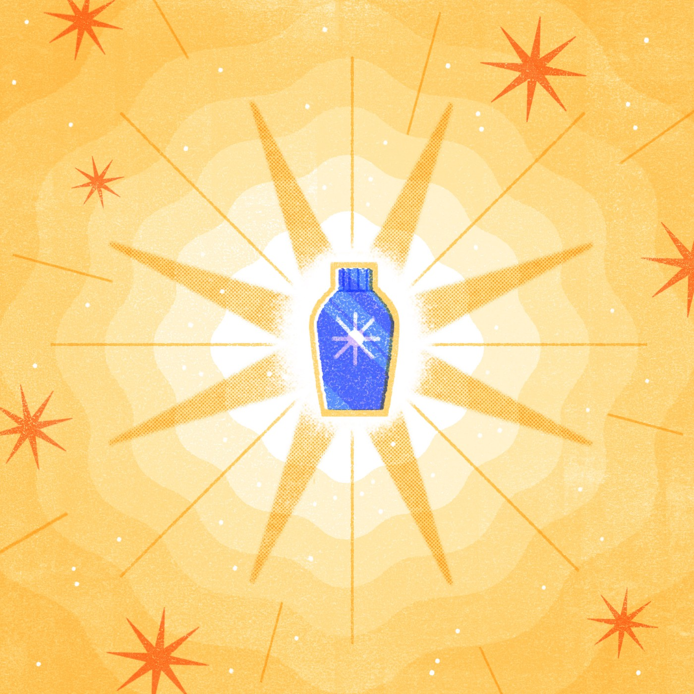 "An illustration of a generic blue bottle with a ""sun"" shaped icon, set against a bright yellow background, centered on the shape of a sun."