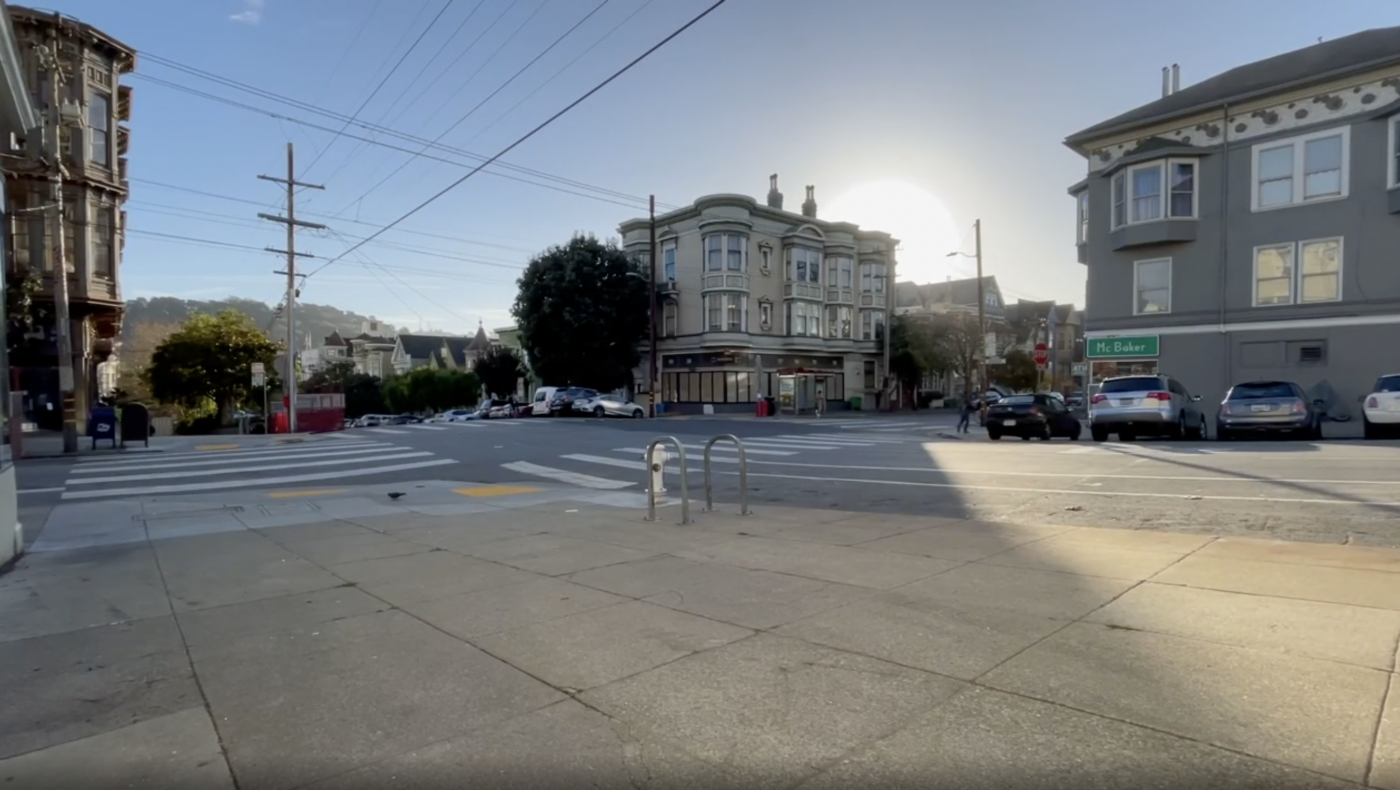 This is the intersection of McAllister and Baker as the sun sets. It's also a link to a song on Instagram.