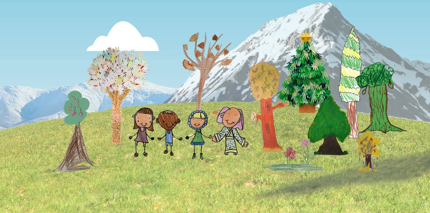 An animated landscape scene with mountains in the background and cut-out drawings of trees and people, drawn by children.
