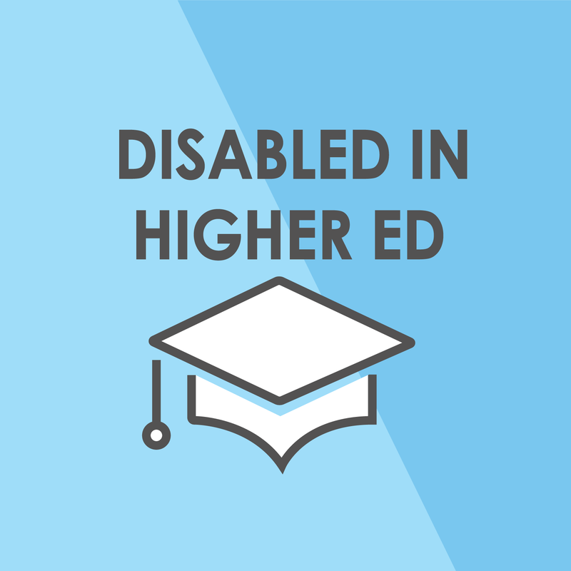 """Blue and black logo depicting a graduation cap with the words """"Disabled in Higher Ed"""""""
