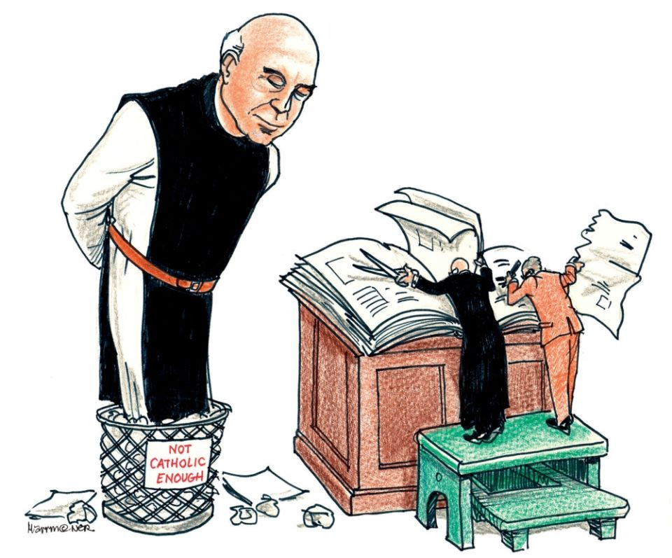 """Cartoon shows Thomas Merton in waste basked labeld """"Not Catholic Enough"""" as clergy tear his bio from pages of a book."""