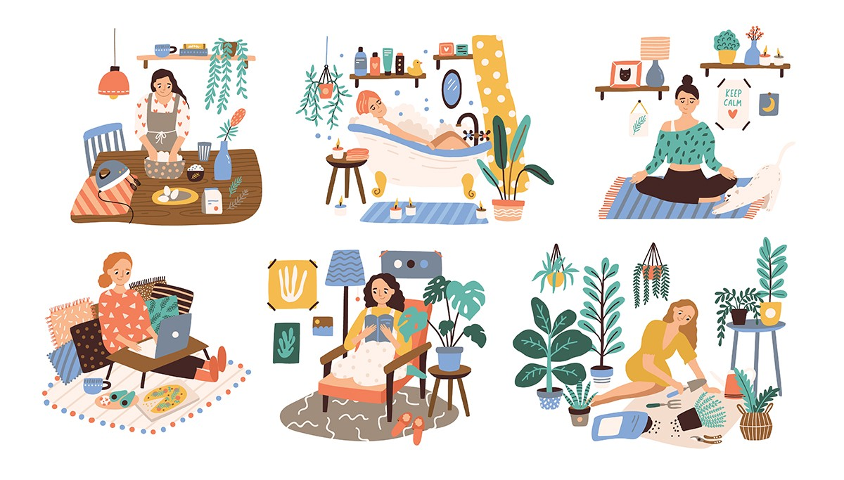 A woman engages in lots of daily activities—cooking, bathing, resting, reading, and gardening.