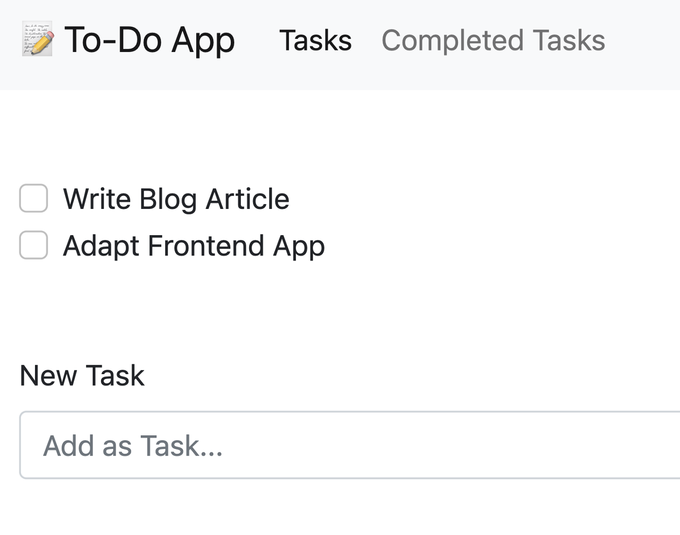 Screenshot of the Todo App Frontend with example tasks