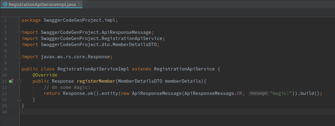 Automatic code generation from a Swagger definition for a REST API