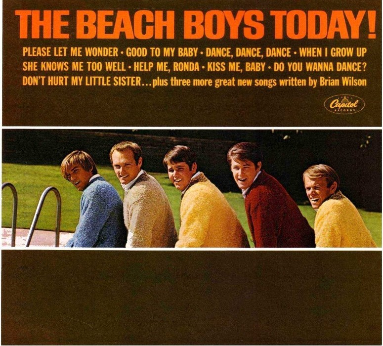 Cover of the Beach Boys' album 'The Beach Boys Today!' with all 5 Beach Boys smiling and a list of the album's songs.