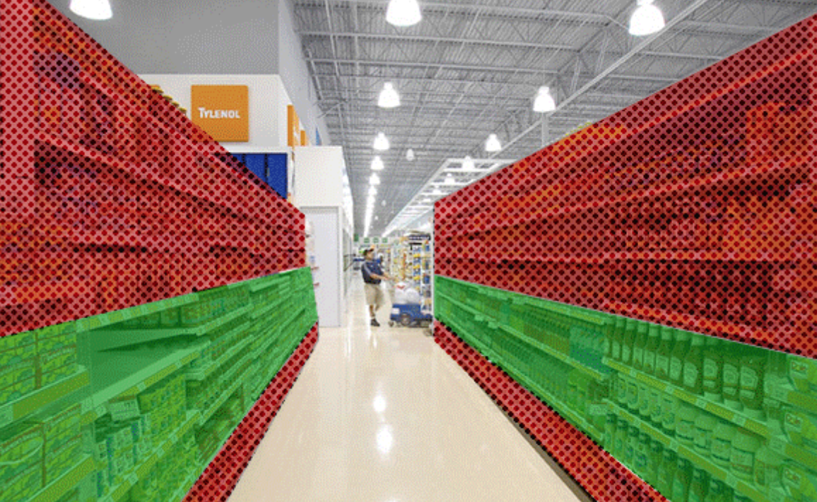 Grocery store aisle with marked area on the highest and lowest shelves