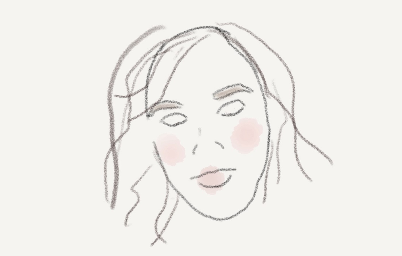 A pencil sketch of Amy's face, with blotches of pink on the cheeks and lips.
