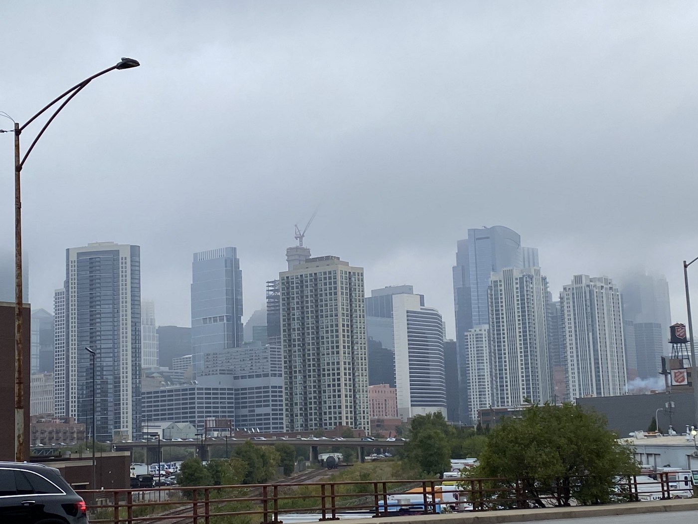 Chicago buildings and street light on a gray day