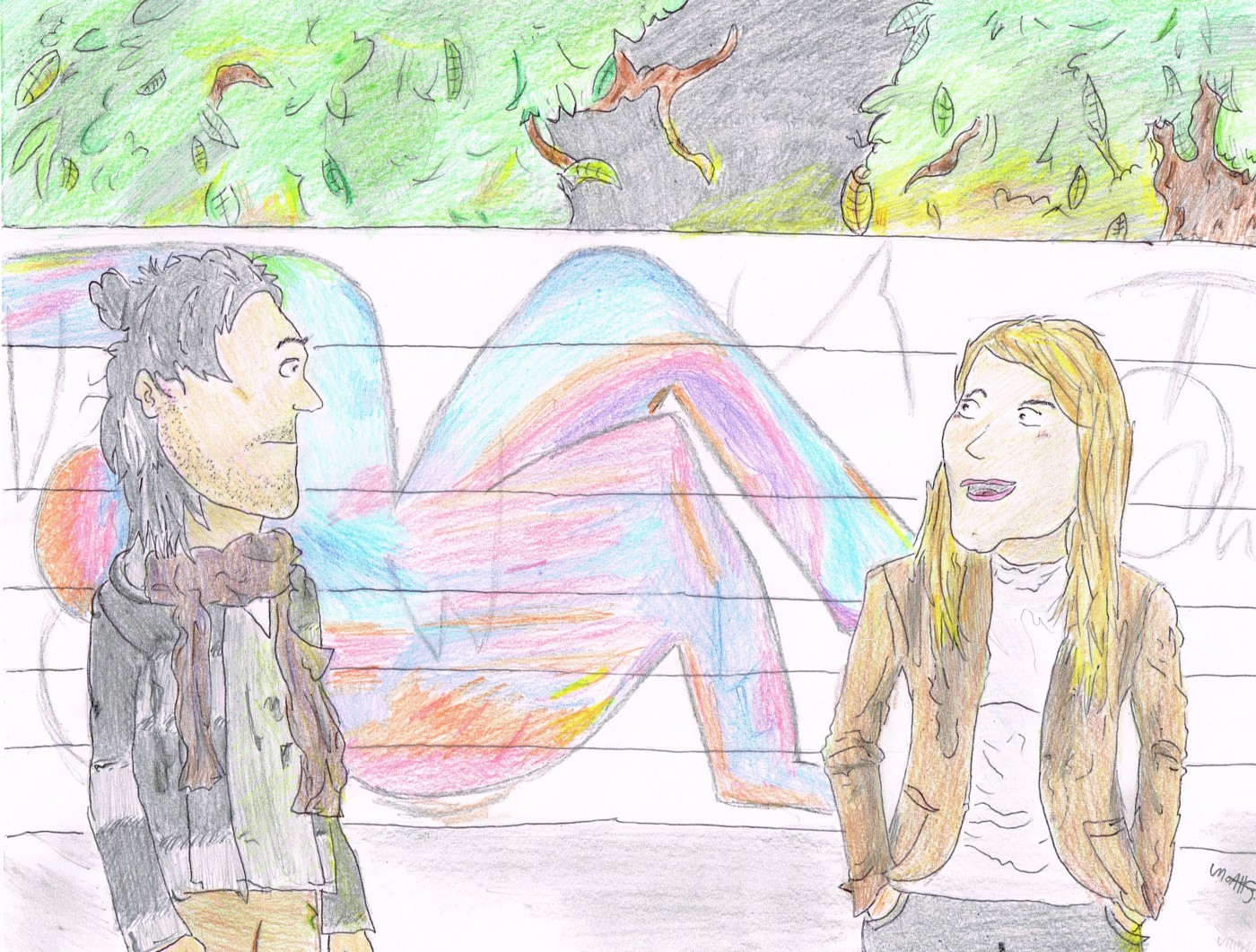 """Jack Huston (left) and Brit Marling (right) talking at night in front of street art and trees in a scene from """"Posthumous."""""""
