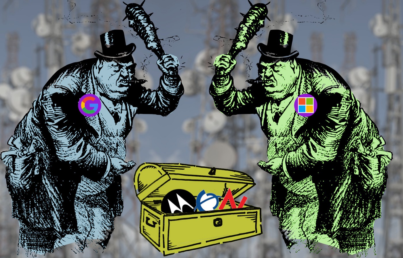 """Two tough guy caricatures brandish clubs at one another; one wears a lapel badge with the Google logo; the other bears a badge with Microsoft's. Between them is an open treasure chest, with the logos for Novell, Nortel and Motorola sticking out of it. In the background is a desaturated, blurred, low-contrast field of cellular masts."""""""