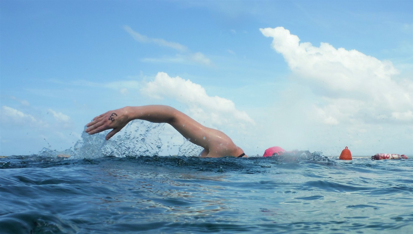 A swimmer in the ocean, head down, swimming front crawl