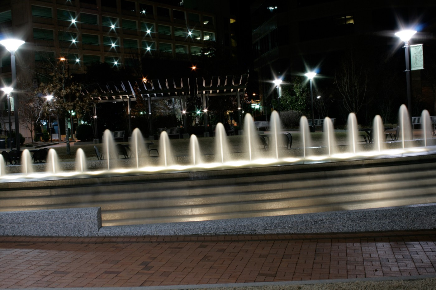 Center City Park Fountain at night.