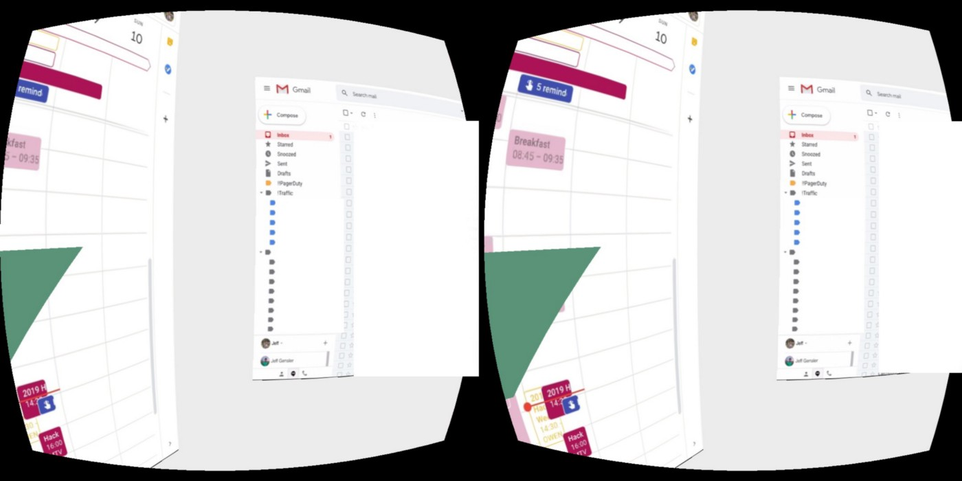 two desktop windows in virtual reality with two occular view points.