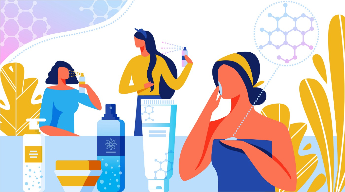 Illustration of women using beauty products, ornamented with organic chemistry symbols.
