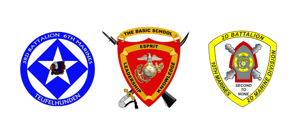 Veterans' Hackathon are comprised of TBS Marines from these military and marine corps units. The basic school and TBS logo