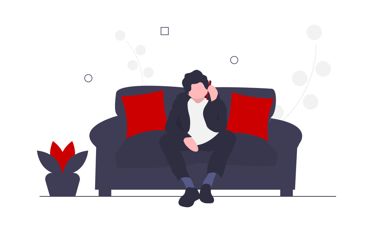 Person sitting on sofa, talking on phone