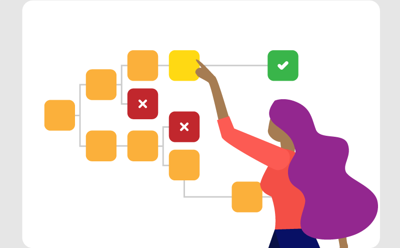 Illustrated image of a woman working on an interactive process map with her hand