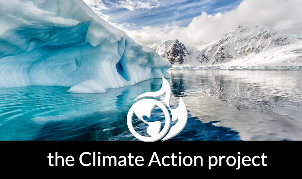 The Climate Action Project. Iceberg next to the ocean with mountains in the background.