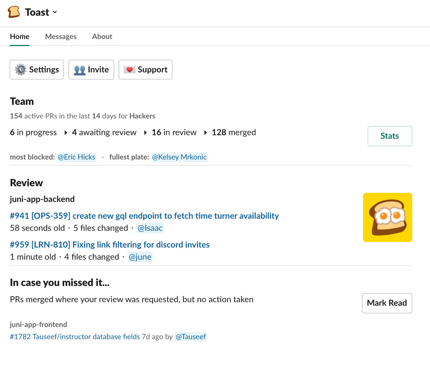 A screenshot of the Toast application