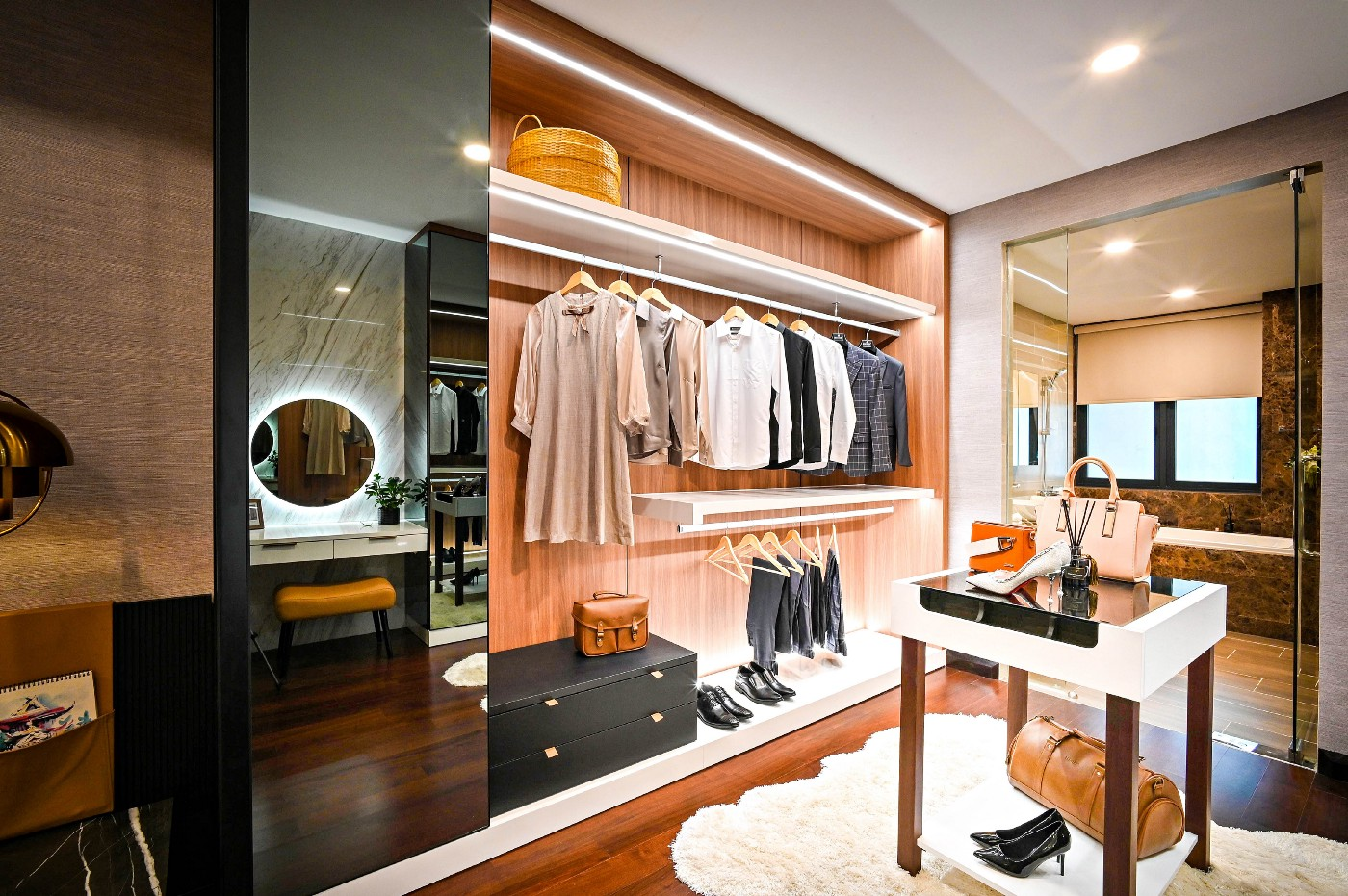 Picture of a closet with clothes and shoes
