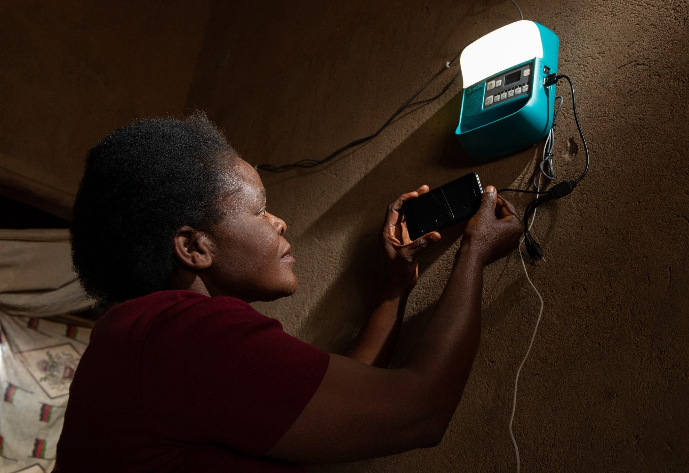Most SHSs have small radio and mobile phone charging devices that are powered by a solar panel and battery.