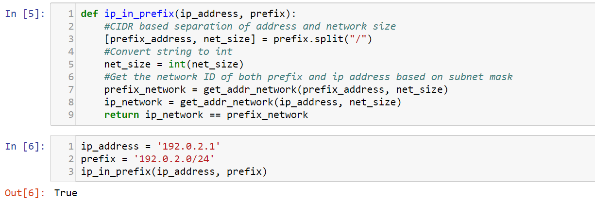 Checking if IPv4 Address in Network Prefix (Python)