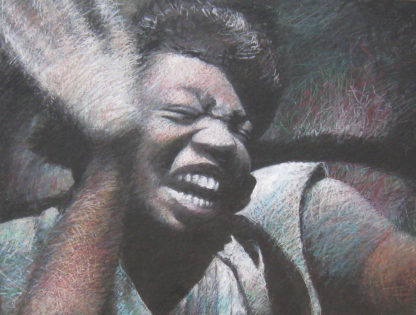 An oil pastel portrait with muted colors depicting a middle-aged African American woman wearing a light blue blouse against a dark black background, created by the author. The expression on the woman's face is rapturous with resilience, eyes tightly closed, mouth open and her bright white teeth displayed in a shout, as her right hand waves upraised in a blur of movement.