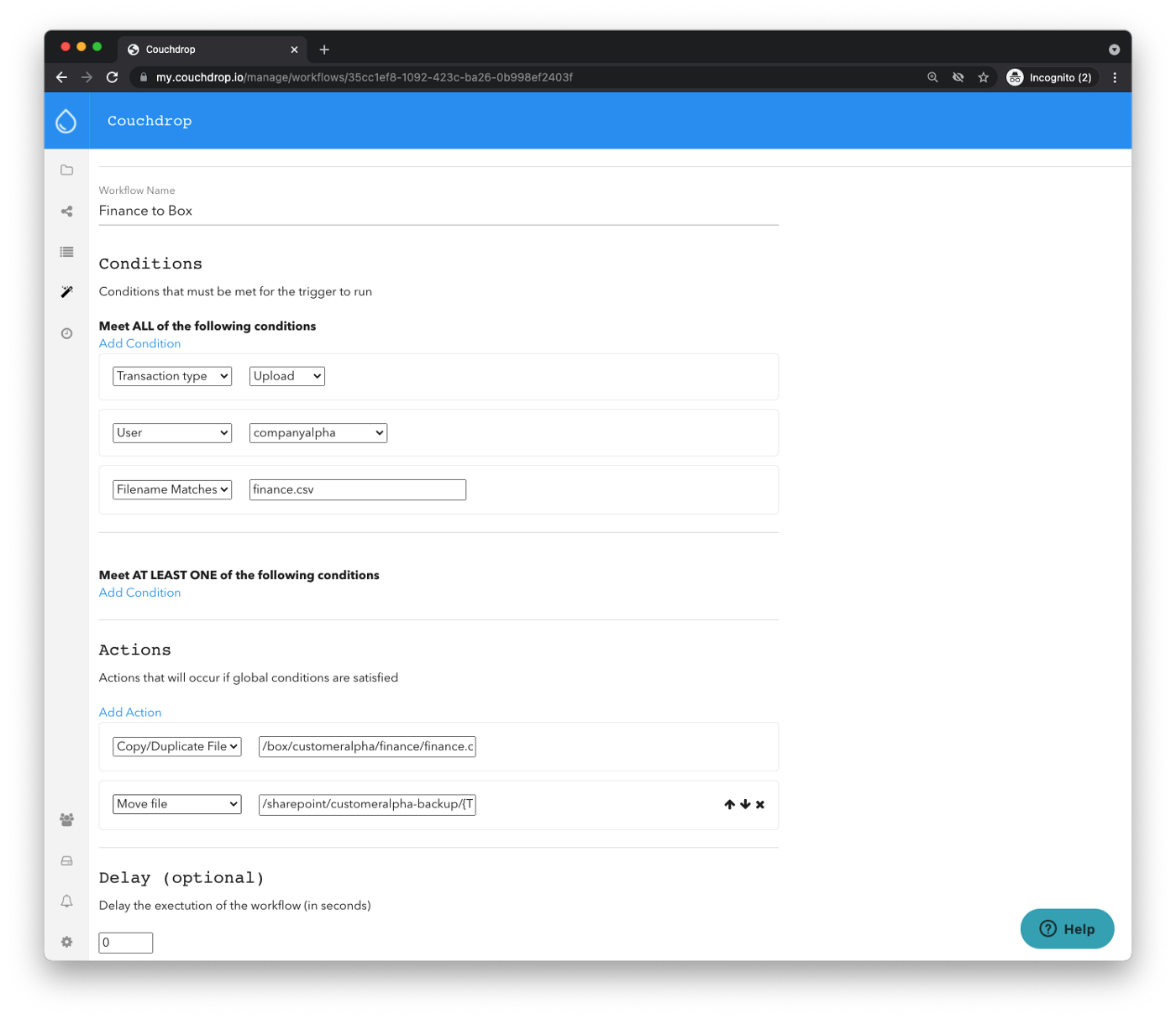 couchdrop ftp automation workflows
