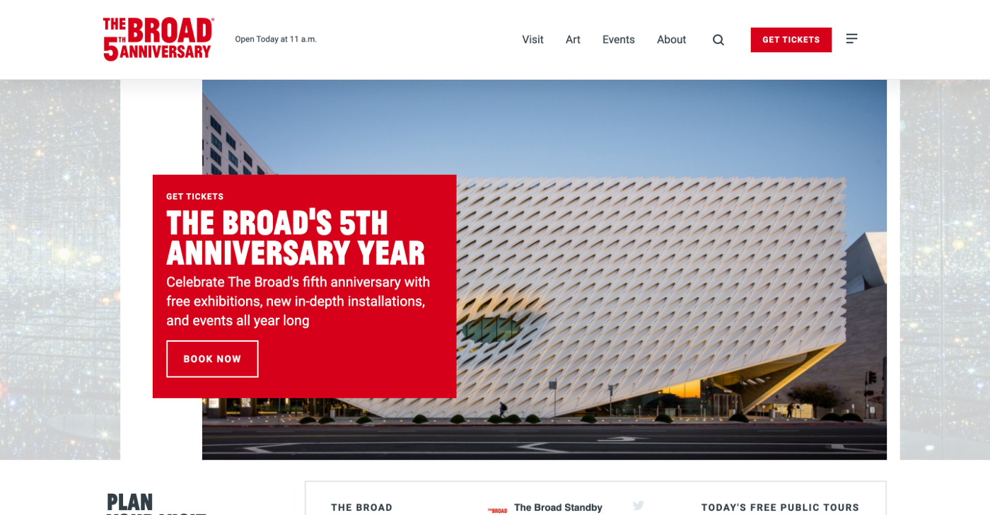 The Broad homepage