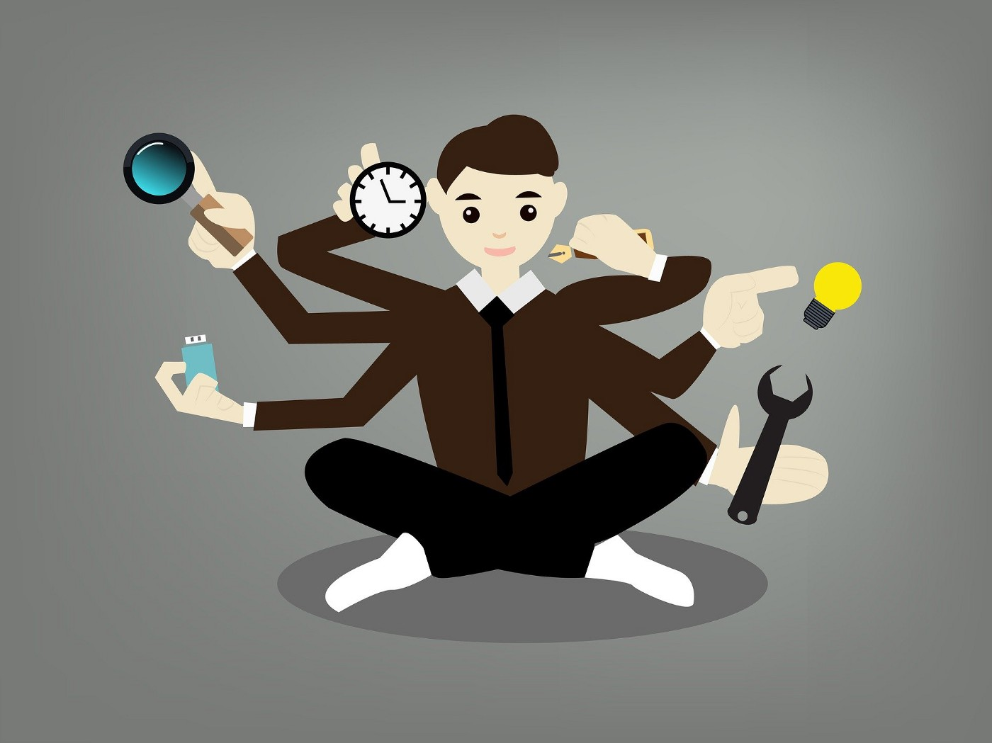 Person with many arms holding a clock, wrench, magnifying glass, light bulb, pen, and usb