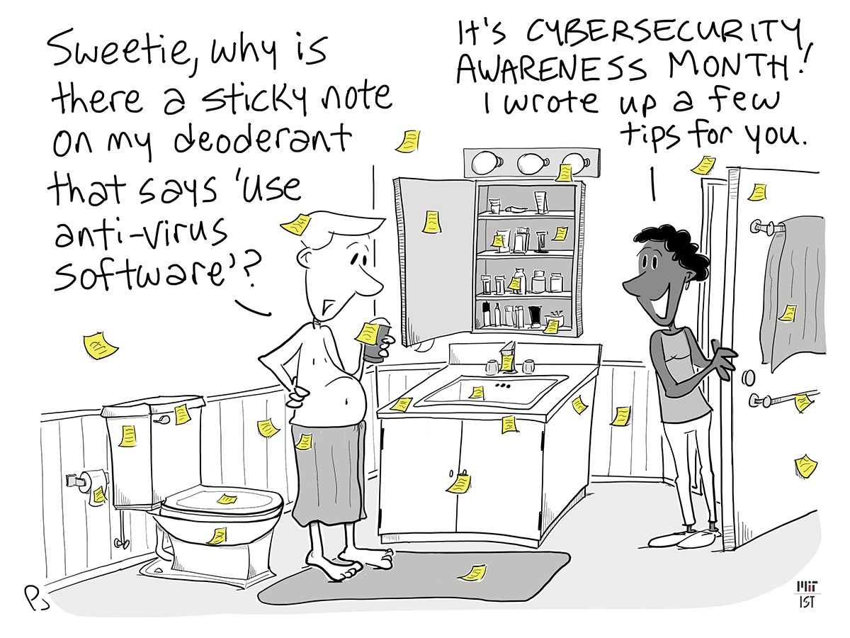 Cartoon of a man in the bathroom with yellow sticky notes all over, each with a cybersecurity tip.