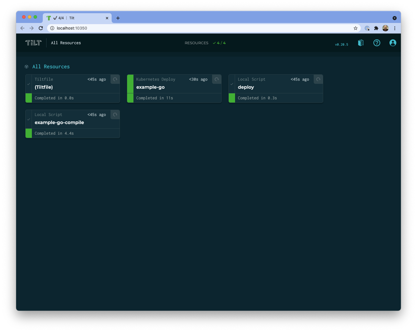Screenshot of the Tilt UI showing the resources listed