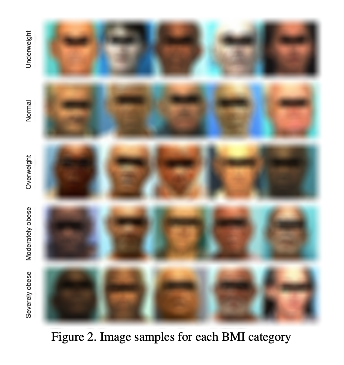 A grid of blurred mugshots showing five examples of of five body mass index categories from underweight to severely obese.
