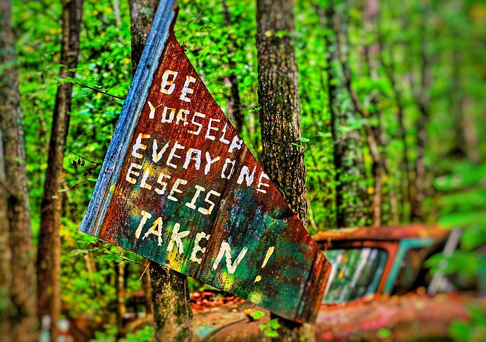 """a rustsy sign in the woods that reads """"Be yourself. Everyone else is taken!"""""""