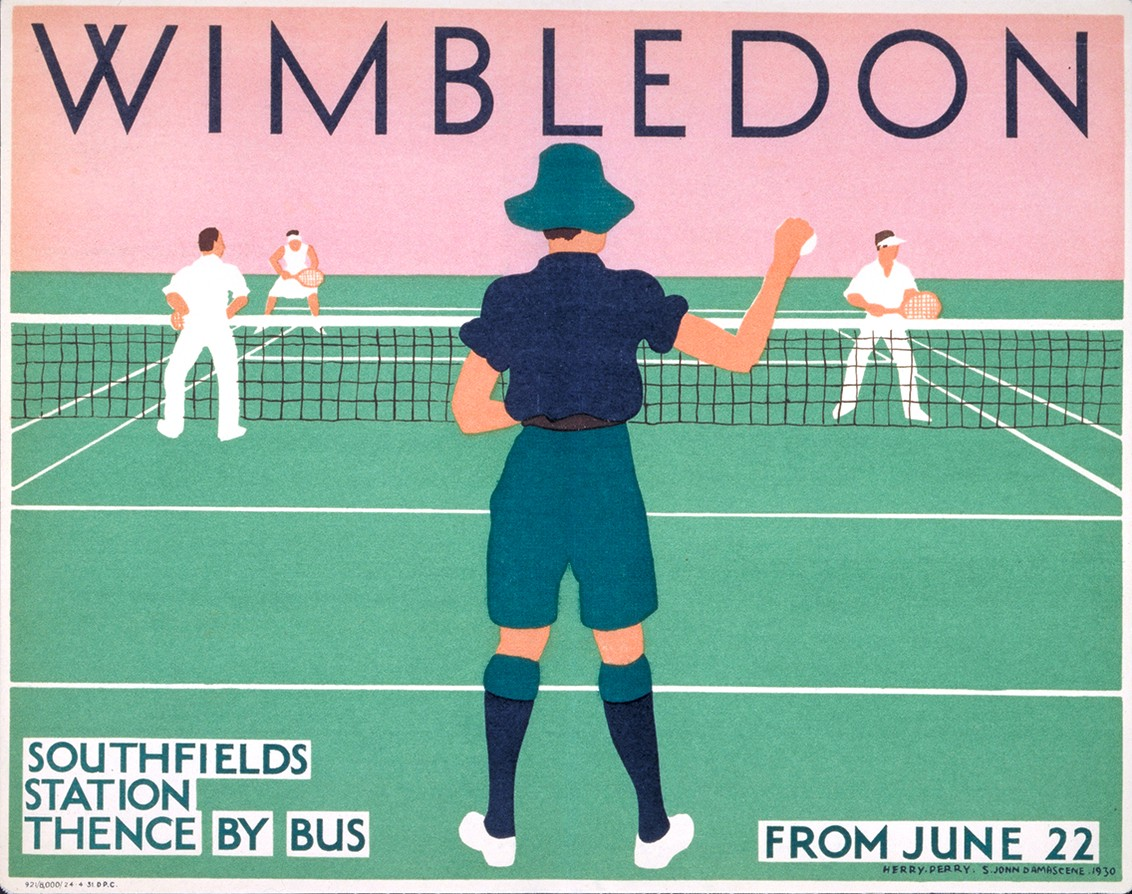 An antique Transport for London poster with advice on how to get to Wimbledon (prominently using the Johnston typeface).
